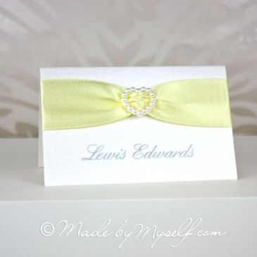 Ribbon Heart Place Card - Pearl Heart